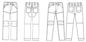"Drawings of the Elwood ""Biker"" Jean by G-STAR RAW (left) and the Jeanswest ""Dean Biker"" Jean (right) as used in the G-Star RAW case."